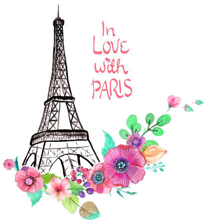 Illustration pour Eiffel tower with watercolor flowers, colorful illustration for beautiful design - image libre de droit