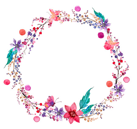 Ilustración de Watercolor flower wreath background for beautiful design - Imagen libre de derechos