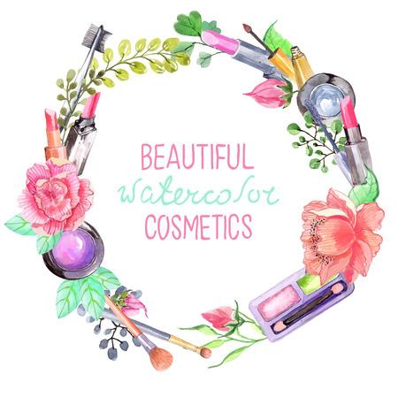 Illustration pour Watercolor cosmetics set, beautiful wreath with flowers over white - image libre de droit