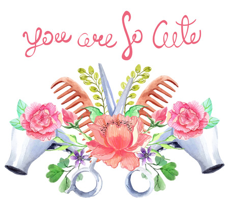Illustration pour Watercolor hair dryers, scissors and comb set over white with flowers and text - image libre de droit