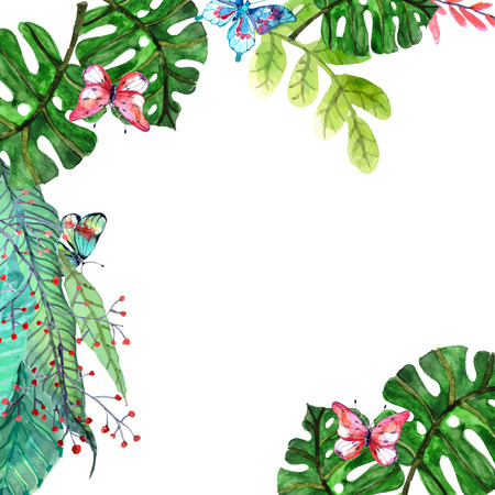Illustration pour Watercolor Floral background with Tropical orchid flowers, leaves and butterflies for beautiful natural design - image libre de droit