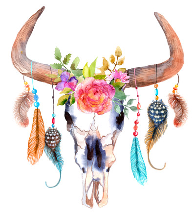 Illustration pour Watercolor bull skull with flowers and feathers over white - image libre de droit