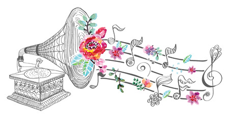 Illustration pour Vintage Gramophone, Record player background with floral ornament, beautiful  illustration with watercolor flowers - image libre de droit