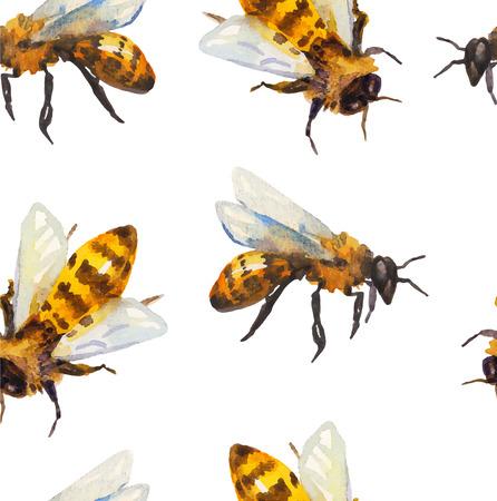 Ilustración de Watercolor seamless pattern with bee over white - Imagen libre de derechos