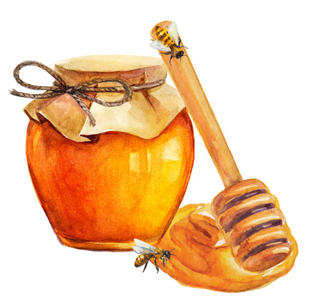Illustration for Watercolor Honey jar and honey stick over white - Royalty Free Image