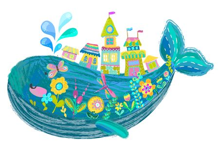 Illustration for Big beautiful whale with houses and flowers over white, bright color illustration, cute cartoon - Royalty Free Image