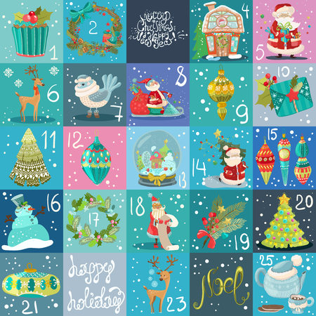 Illustration pour Advent calendar. Christmas poster, big collection of Christmas illustrations - image libre de droit