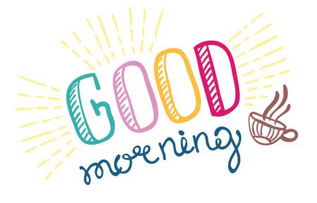 Illustration pour Good morning lettering, hand drawn illustration - image libre de droit