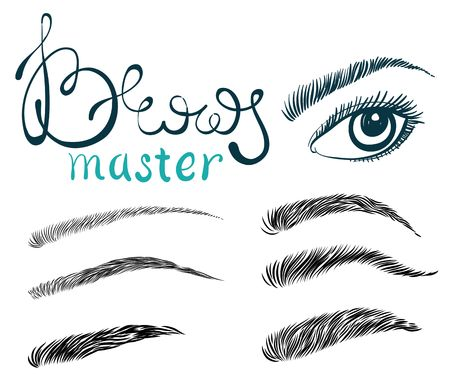 Illustration pour Illustration of beautiful female long eyelashes and brows. Trendy makeup with lettering, Concept for beauty salon, cosmetics label, visage or makeup studio - image libre de droit