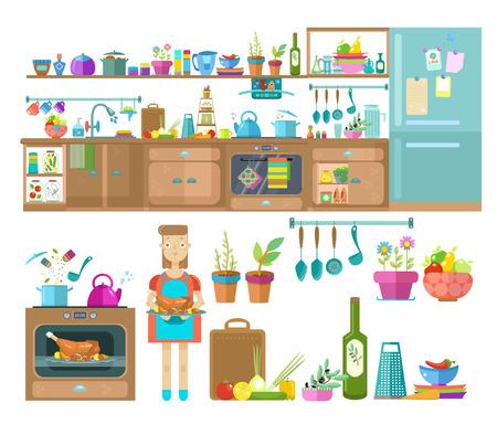 Illustration pour Kitchen interior design.Set of elements:refrigerator, cupboards, kitchen utensils and food, modern flat illustration - image libre de droit