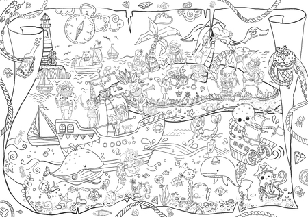 Illustration for Large pirates coloring, children's illustration, many characters, funny details - Royalty Free Image