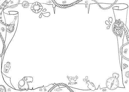 Illustration pour Children's marine coloring, blank map with different pirate elements for design - image libre de droit