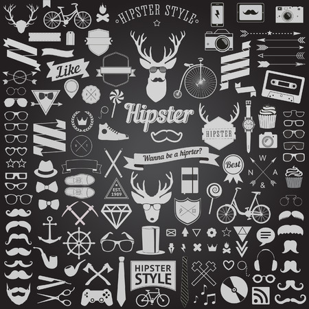 Ilustración de Huge set of vintage styled design hipster icons  Vector signs and symbols templates for your design The largest set of bicycle, phone, gadgets, sunglasses, mustache, anchor, ribbons and other things - Imagen libre de derechos