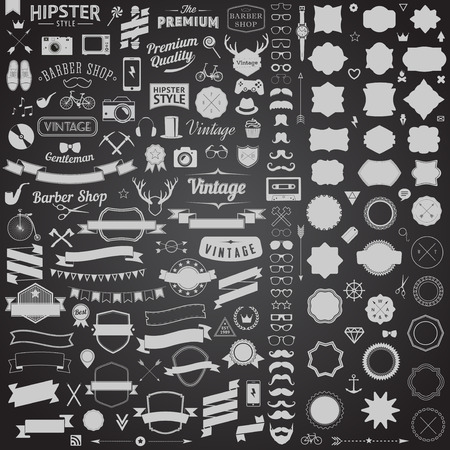 Illustration pour Huge set of vintage styled design hipster icons. Vector signs and symbols templates for your design.The largest set of bicycle, phone, gadgets, sunglasses, mustache, anchor, ribbons and other things. - image libre de droit