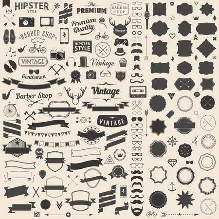 Ilustración de Huge set of vintage styled design hipster icons. Vector signs and symbols templates for your design.The largest set of bicycle, phone, gadgets, sunglasses, mustache, anchor, ribbons and other things. - Imagen libre de derechos