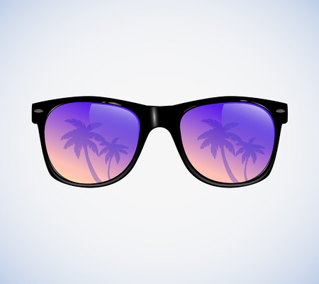Photo for Sunglasses with palms reflection vector illustration - Royalty Free Image