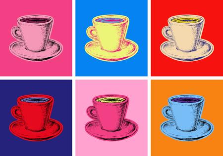 Illustration for set of coffee mug illustration pop art style - Royalty Free Image