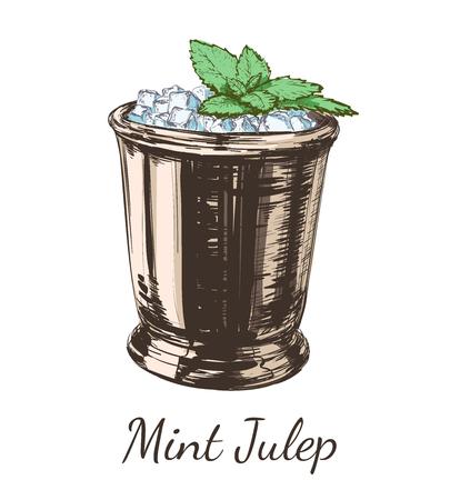 Ilustración de Mint cocktail julep for the derby hand drawing vector illustration alcoholic drink. - Imagen libre de derechos