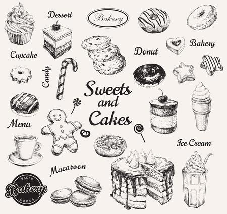 Illustration pour Hand Drawn Set Sweets Dessert Coffee Vector illustration - image libre de droit