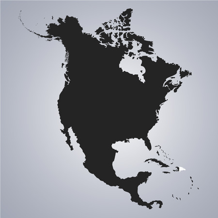 Illustration pour Territory of Dominican Republic on North America continent map on the grey background - image libre de droit