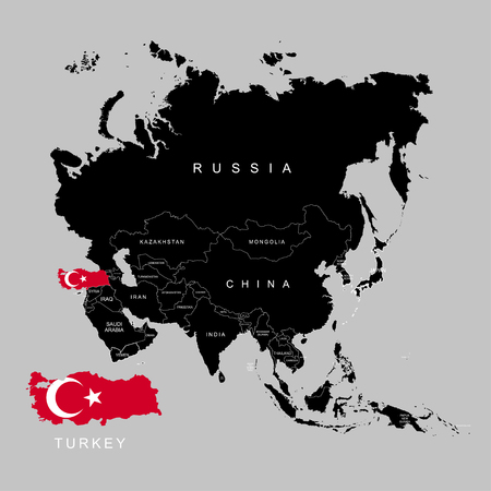 Illustration pour Territory of Turkey on Asia continent. Flag of Turkey. Vector illustration - image libre de droit