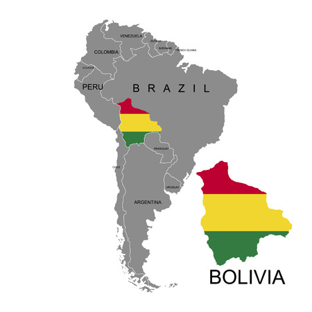 Illustration pour Territory of Bolivia on South America continent. White background. Vector illustration - image libre de droit
