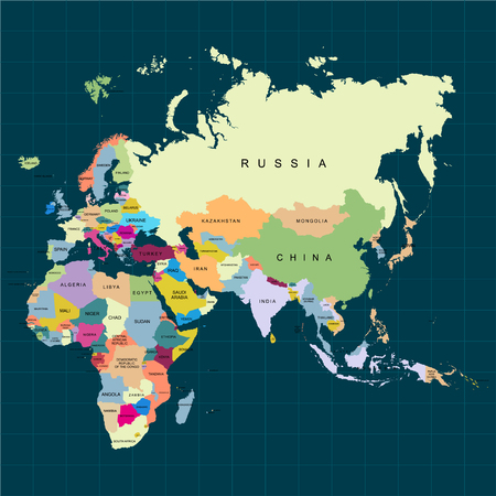 Ilustración de Territory of continents - Africa, Europe, Asia, Eurasia. Dark background. Vector illustration - Imagen libre de derechos