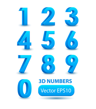 Illustrazione per Blue 3d numbers. Vector set. - Immagini Royalty Free