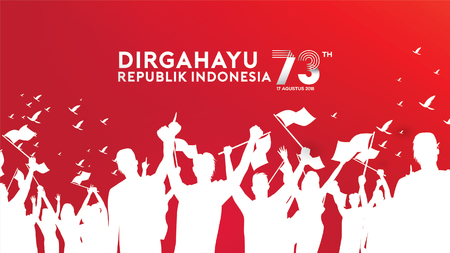 Illustration pour 17 August. Indonesia Happy Independence Day greeting card, banner, and texture background - image libre de droit