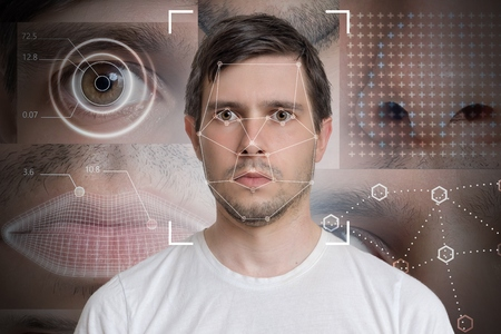 Foto de Face detection and recognition of man. Computer vision and machine learning concept. - Imagen libre de derechos