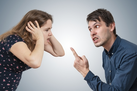 Photo for Young couple is arguing and shouting. - Royalty Free Image
