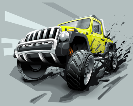 Illustrazione per Extreme Off Road Vehicle SUV, dirt and bad weather - Immagini Royalty Free