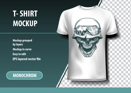 Illustration pour Skull of the German Soldier. T-Shirt template, fully editable. - image libre de droit