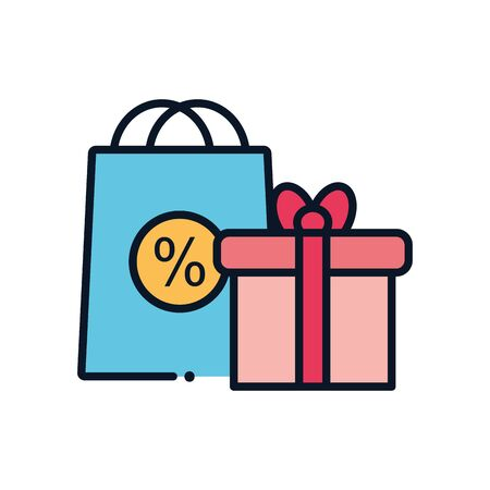 Illustration pour gift and sale bag line fill style icon design of Shopping commerce market store shop retail buy paying banking and consumerism theme Vector illustration - image libre de droit