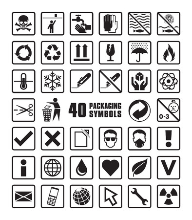 Illustration for Set of Packaging Symbols in Vector Format - Royalty Free Image