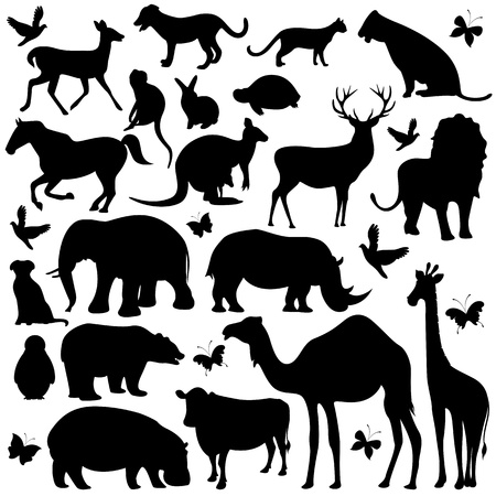 illustration of collection of animal silhouettes on isolated background