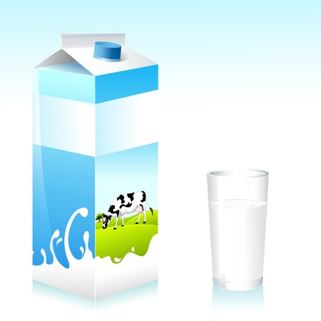 illustration of cow on pack of milk and glass