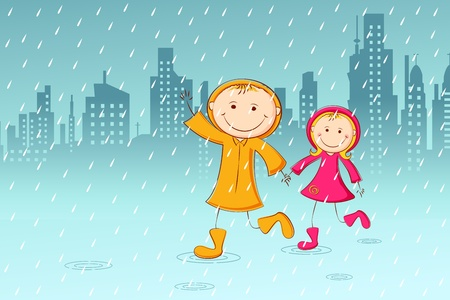 illustration of kids playing in rainy day with cityscape background