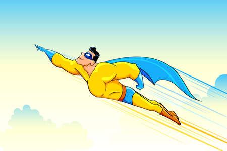 Illustration pour illustration of superhero wearing cape flying in sky - image libre de droit