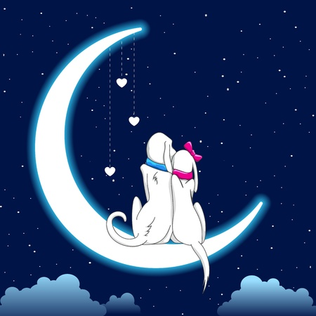 Photo for illustration of dog couple sitting on moon in romantic night - Royalty Free Image