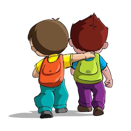 Photo pour illustration of kids going to school with bag pack - image libre de droit