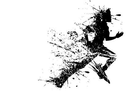illustration of splashy runner silhouette on white background
