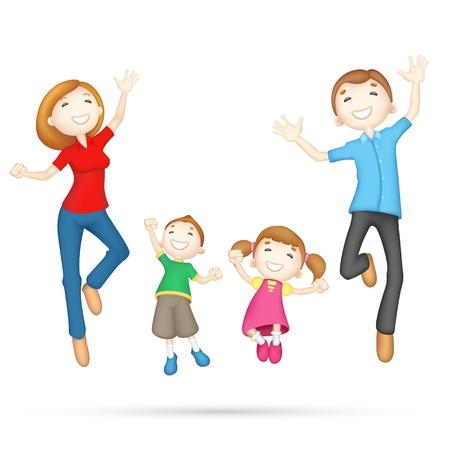 Photo pour illustration of 3d jumping family in editable vector - image libre de droit
