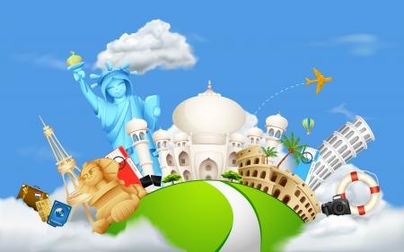 Foto de illustration of historical monument on cloudscape - Imagen libre de derechos