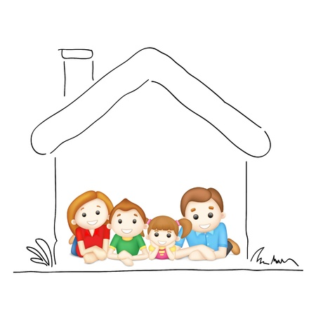 Photo for illustration of happy family laying in sweet home - Royalty Free Image