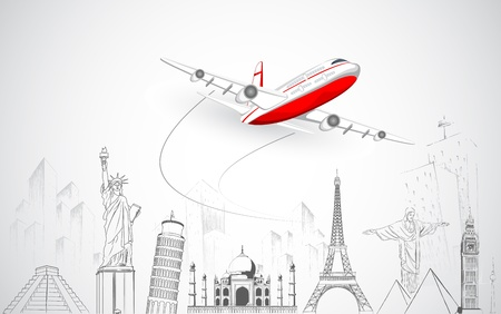 Photo for illustration of airplane flying over sketch of famous monument - Royalty Free Image