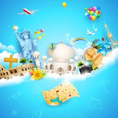 Photo pour illustration of holiday background with travel object with famous monument on cloud - image libre de droit