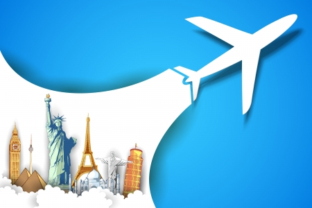 Photo pour illustration of airplane flying in travel background with monument - image libre de droit
