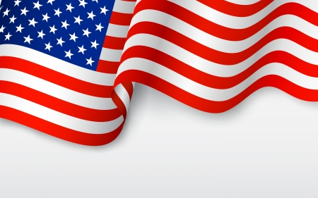 Illustration pour illustration of wavy American Flag for Independence Day - image libre de droit