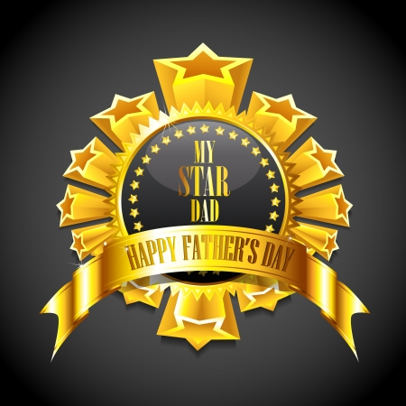 Illustration for illustration of royal badge with golden frame showing Father s Day message - Royalty Free Image